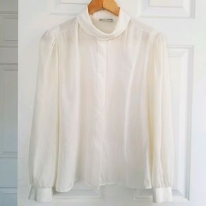 VINTAGE Cream Blouse with Delicate Details